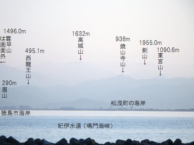 山名入りの四国山地遠望写真
