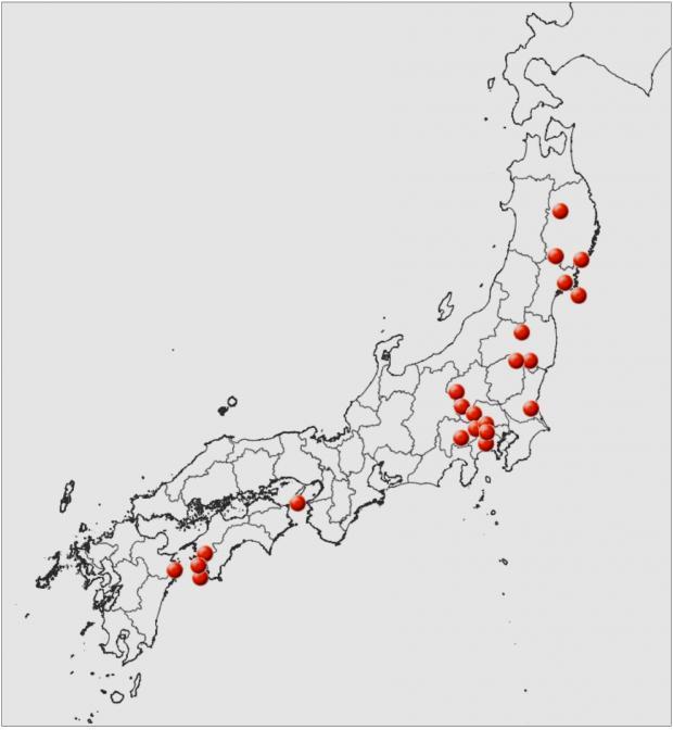 ミミガタテンナンショウの分布図