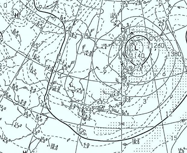 2014年4月5日09時 500hPa高度・気温図
