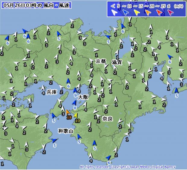 2014年5月26日03時 近畿地方の風速・風向分布
