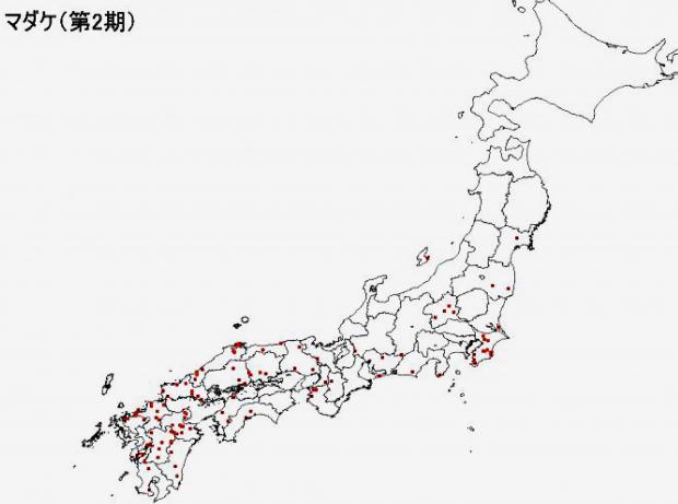 マダケの分布図
