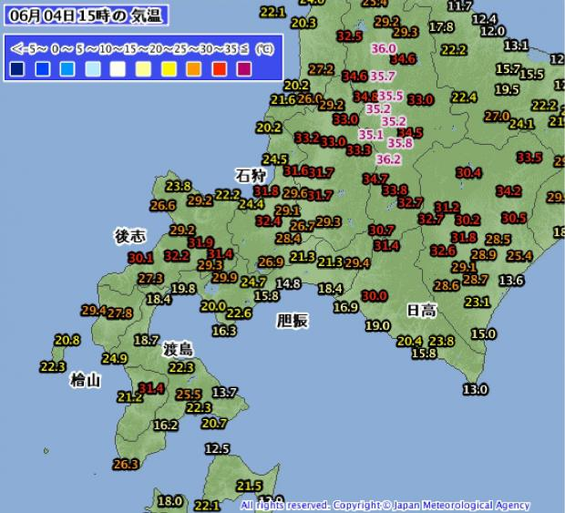 2014年6月4日15時の北海道気温分布