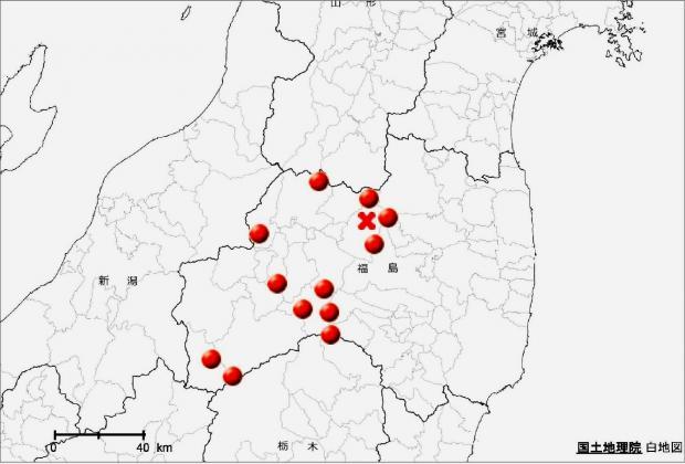 ネマガリダケの福島県内の分布