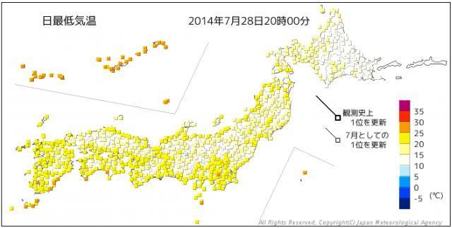 2014年7月28日の日最低気温の分布