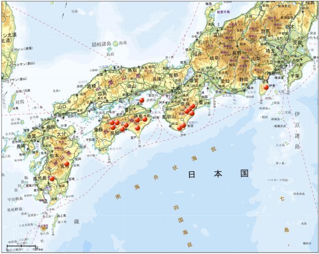 日降水量の観測史上の全国ランキング20傑分布図