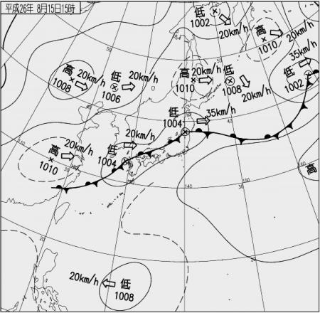 2014年8月15日15時天気図