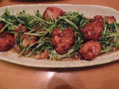 イカ団子と水菜の中華