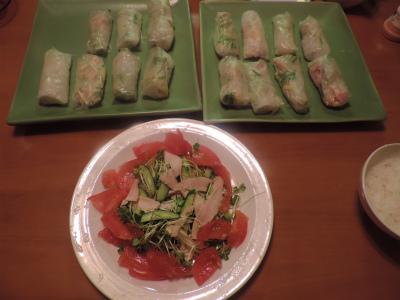 ベトナム春巻きとサラダ