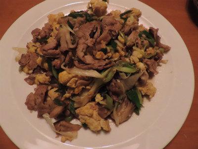 6.29豚・卵・ネギ舞茸の生姜醤油炒め