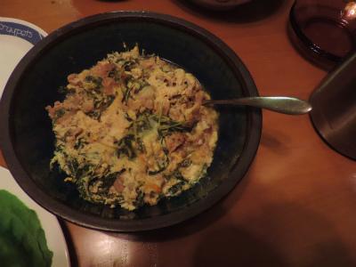 7、6水菜と豚肉の卵とじ