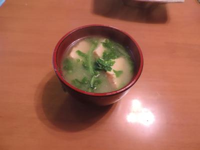 10.5大根間引き菜の味噌汁