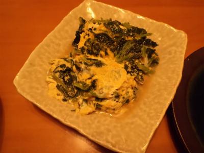 10.11カブの間引き菜卵とじ