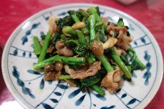 豚肉と菜花のオイスターソース炒め