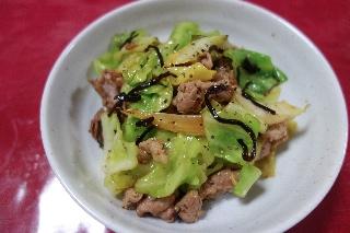 豚肉とキャベツの塩昆布炒め0408