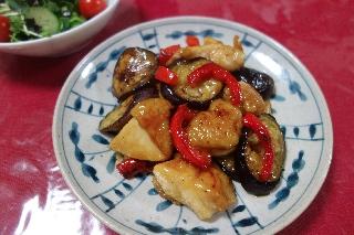 鶏肉となすの甘酢炒め428