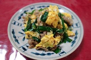 豚肉とニラの卵炒め710