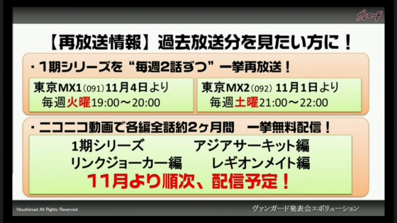 ヴァンガード1期シリーズ再放送 ニコニコ動画で2か月間無料配信!11月より実施