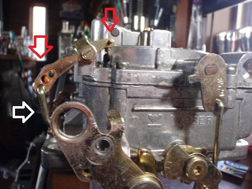 エーデルキャブ、加速ポンプ一番リーンリンケージ曲加工