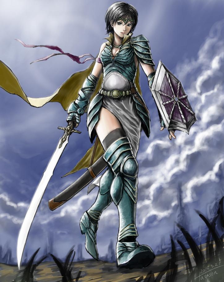 蒼鎧の女剣士