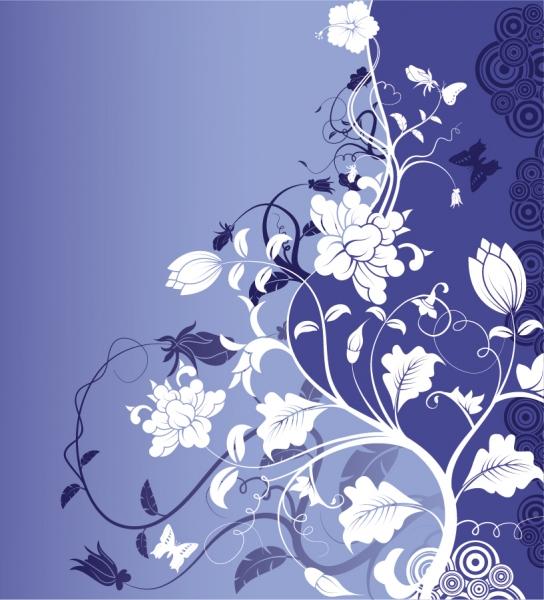 曲線が美しい藍色の植物背景 Gorgeous Fashion Flower Background