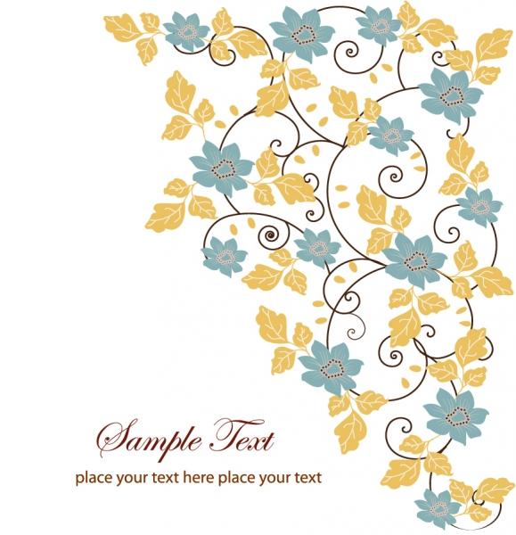 蔓を巻いたグリーティングカードの背景 Floral Swirl Greeting Card Vector