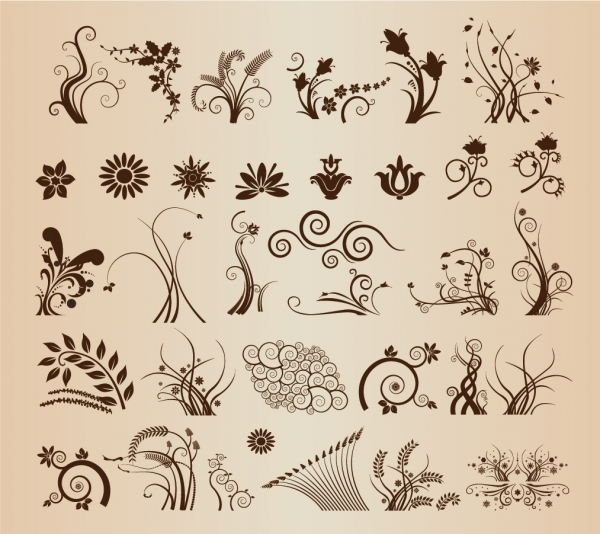 曲線が美しい植物の飾り罫 Floral Ornamental Elements for Design