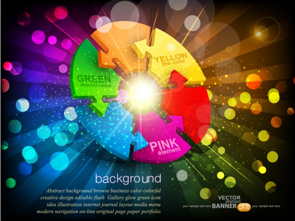 虹色に輝く美しい円グラフの見本 trend of colorful vector background