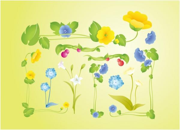 美しい庭花のクリップアート Garden Flowers
