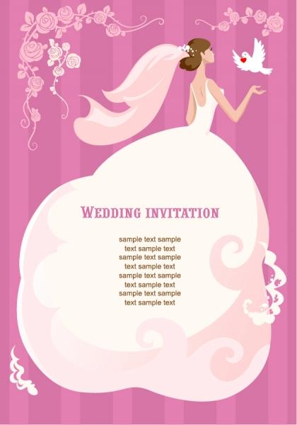 ウェディングドレス姿が美しい招待状の背景 Wedding Invitation Vector Illustration