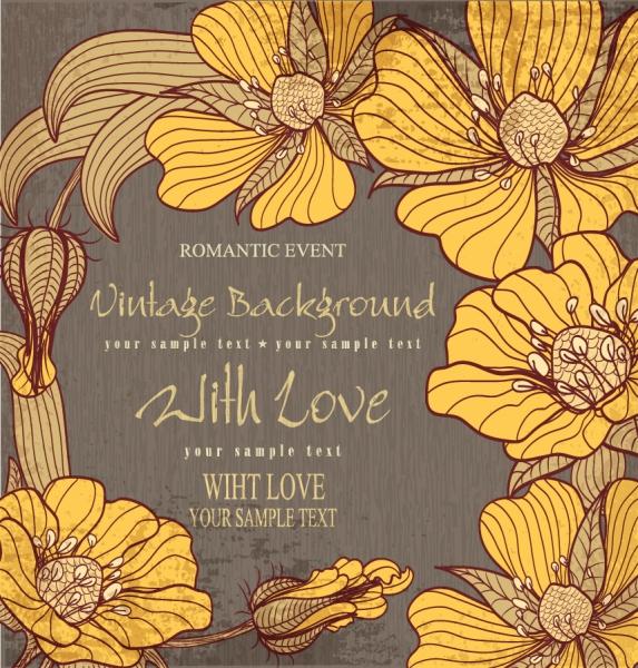 大輪の花ビラが美しいレトロな背景 Classic retro pattern vector background