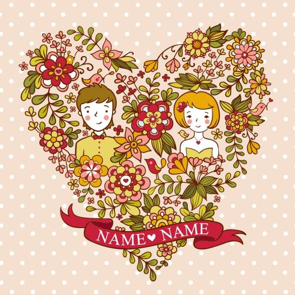 カップルと楽しく遊ぶ子供の背景 Cute playful card templates1