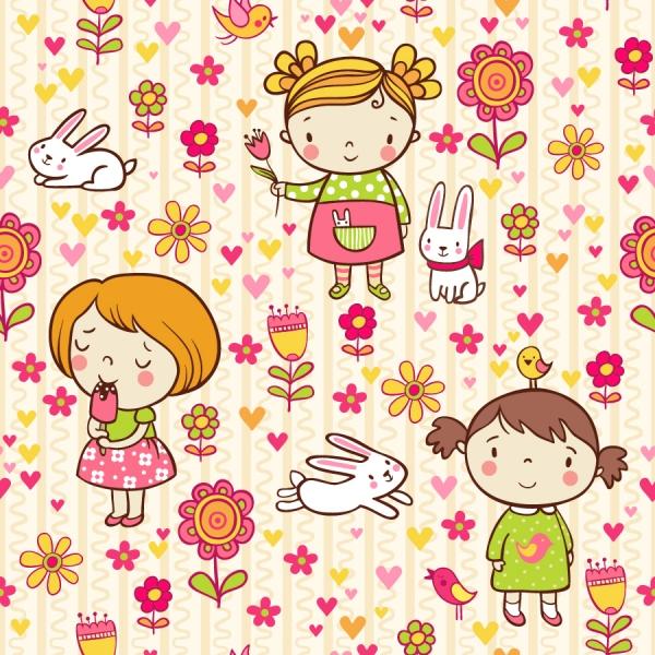 カップルと楽しく遊ぶ子供の背景 Cute playful card templates2