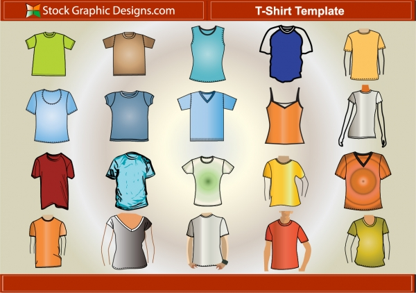 Tシャツ デザイン用テンプレート T–Shirt Template Free Vector Pack