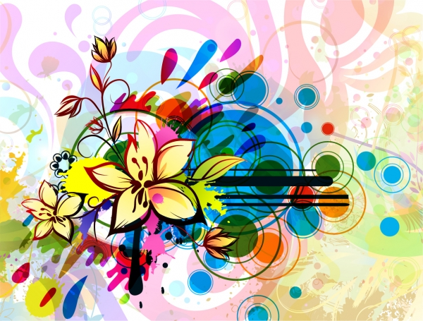 カラフルな色を重ねた花柄の背景 Floral Background