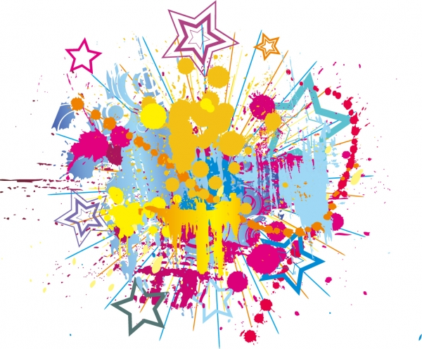 カラフルなインクの跳ねと星の背景 Colorful Bright Ink Splashes with Stars Vector Background