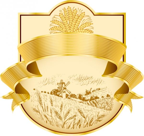実りの季節の農場を表現した金ラベル wheat ribbon product label