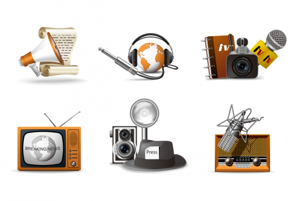 メディア業界をイメージしたクリップアート media theme icon vector2