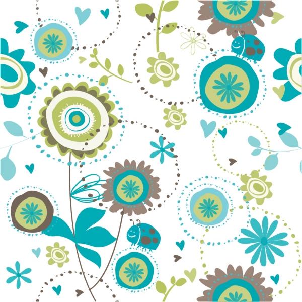 手書き風の植物柄背景 Floral seamless pattern