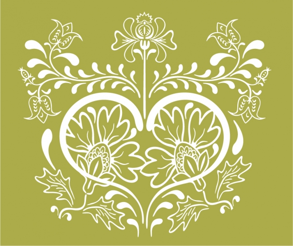 ヴィンテージな植物柄背景 Vintage Floral Design Vector Graphic