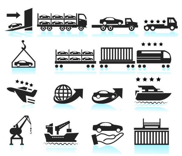 交通輸送のシルエット アイコン Car Shipping Delivery icon set