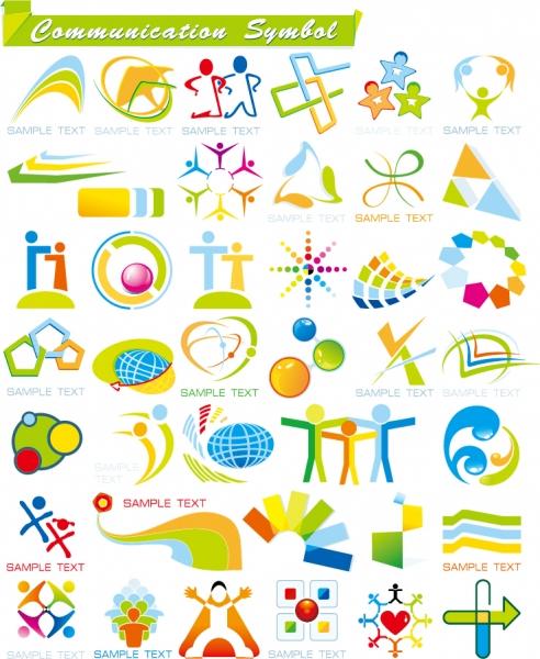 コミュニケーション用のシンボル デザイン見本 Character shaped graphics logo