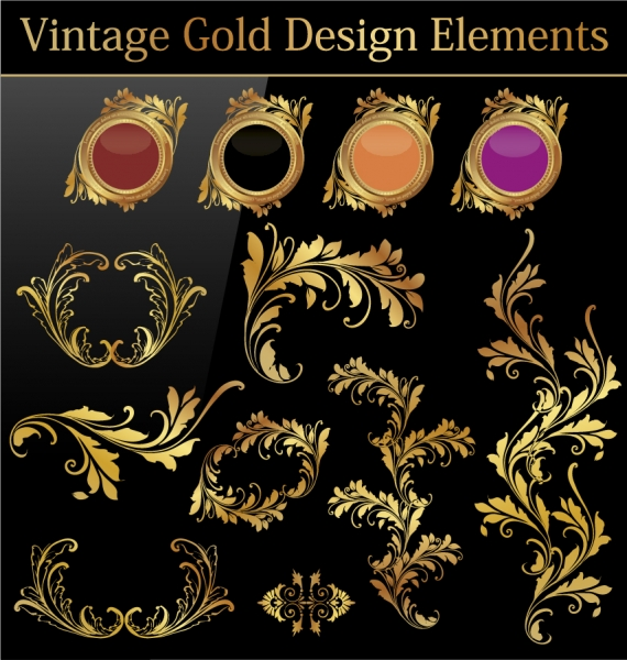 金色のデザイン エレメント european gold pattern