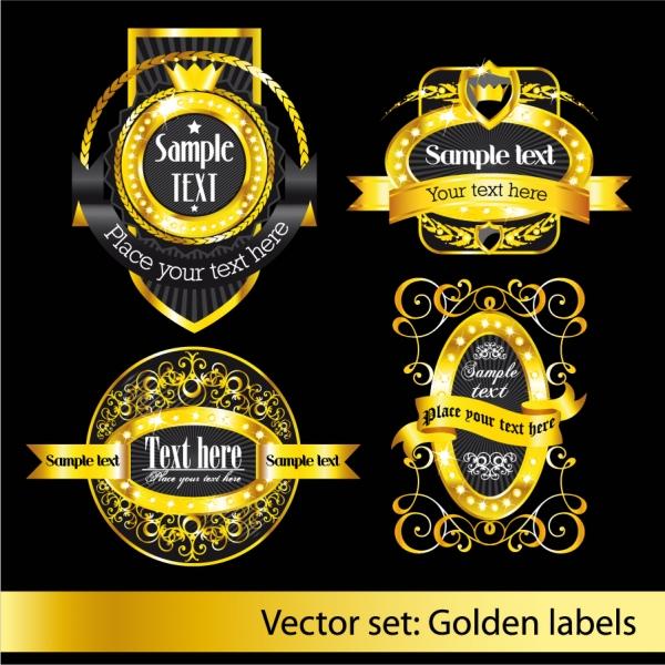 金色に輝くラベル デザイン classical pattern vector labels