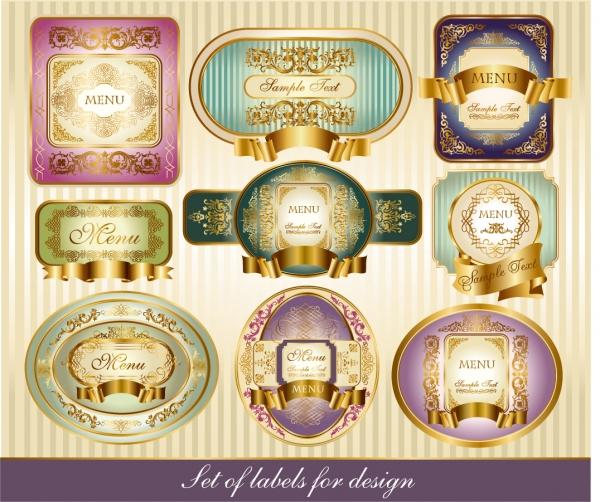 金縁の飾りがお洒落なラベル デザイン見本 classical pattern vector bottle label