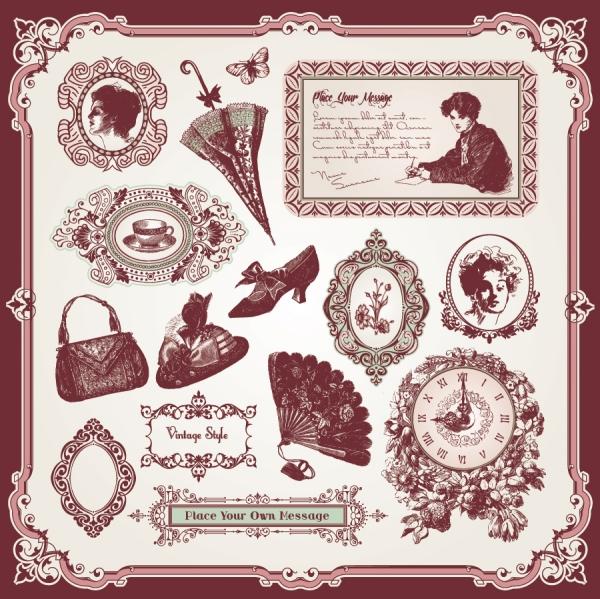 ヨーロッパスタイルのレトロな装飾素材 exquisite european style decorative label