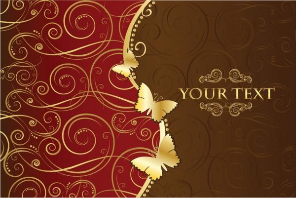 黄金の蝶が舞う優雅な表紙デザイン european classical pattern vector1