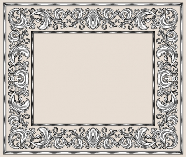 古典的な植物柄のフレーム European lace patterns corners