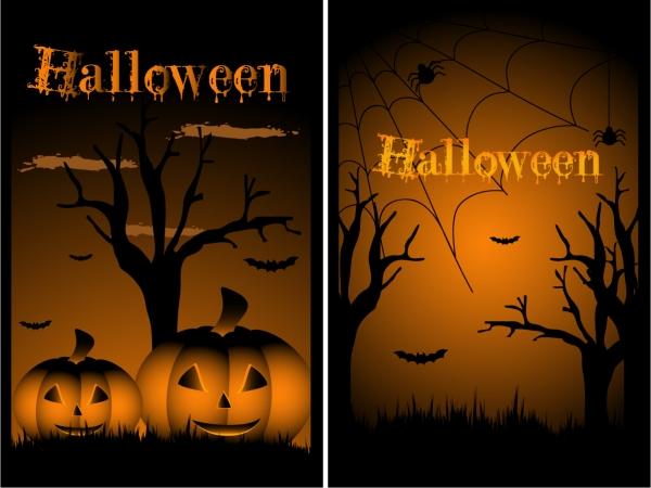 ハロウィン ポスターの背景 halloween design elements vector3