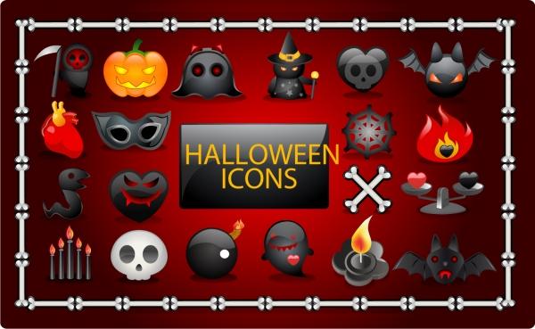 ハロウィン関連のアイコン集 Vector Halloween icons