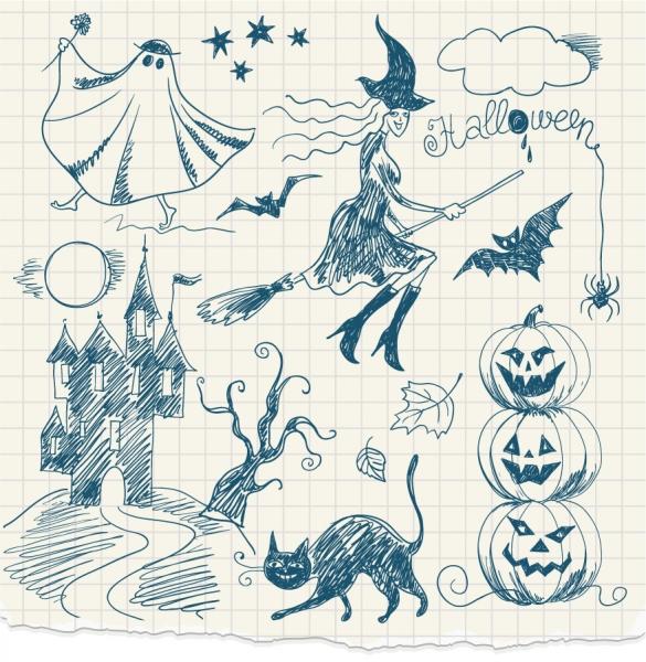 手書きのハロウィン クリップアート hand-painted halloween witches